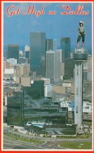 DALLAS , Texas , 1950-60s ; Cowgirl on top of tower