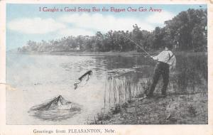 Pleasanton NE Caught A Good Stringer, But the Big One Got Away~Exaggerated 1917