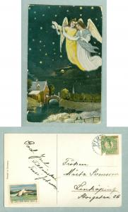 Christmas Card 1914. Angels. With Christmas Seal. Postal Used