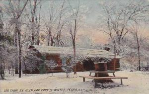 Illinois Peoria Log Cabin At Glen Oak Park In Winter