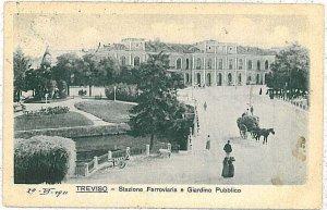 CARTOLINA d'Epoca - TREVISO Città: STAZIONE FERROVIARIA TRENI 1922