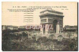 Old Postcard Paris Arc de Triomphe and panorama of the Place de l'Etoile