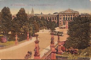 France Strasbourg - Le Pont de l'Universite et l'Universite, trams 1938