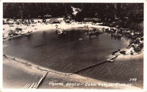 Coral Gables Florida Tahiti Beach Aerial View Real Photo Postcard AA12305