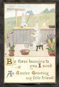 dc709 - EASTER 1914 Bunnies Painting Eggs. Tuck Postcard
