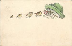 embossed birds under a hat fantasy 1903 postcard