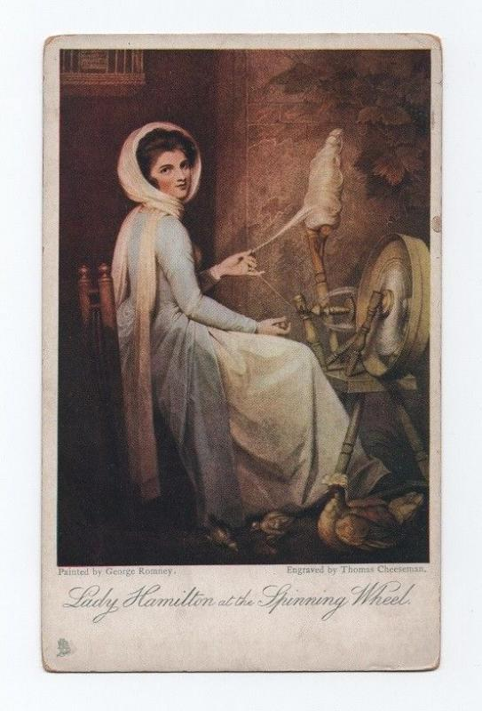 ART POSTCARD 1910 years GEORGE ROMMEY LADY & SPINNING WHEEL