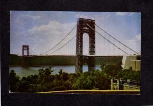 NY George Washington Bridge Hudson River New York City NYC Postcard