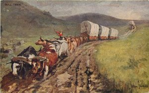 Undiv. Back Western Art Postcard A/S John Innes, Bull Train Oxen, Covered Wagons