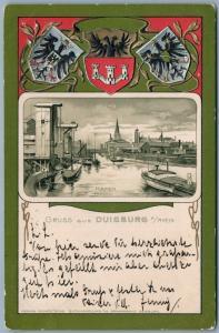 GRUSS AUS DUISBURG GERMANY 1903 ANTIQUE POSTCARD