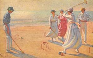 Artist L. Tanquerey Croquet Postcard Le Jeu De Croquet By L Tanquerey Unused
