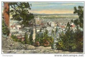 City Through the Pines ,Spokane, Washington, WA, Divided back