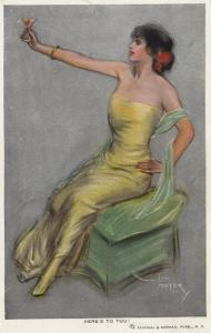 ART DECO ; Female in strapless yellow gown, Here's to you!, 1910-20s