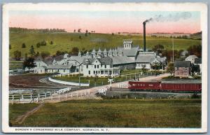 NORWICH NY BORDEN'S CONDENSED MILK COMPANY 1926 ANTIQUE POSTCARD