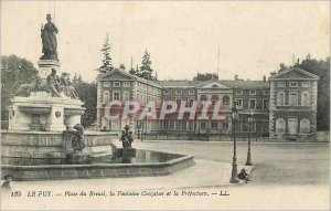 Old Postcard Le Puy du breuil up the fountain and crozatier prefecture