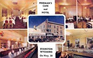 FREEMAN'S CAFE & HOTEL Evanston, WY Interiors Lincoln Highway ca 1950s Postcard