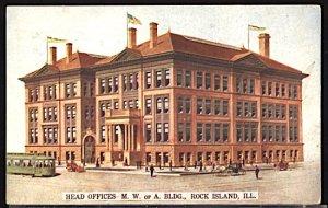 USA Head Office Modern Woodmen of America Rock Island Ill. Trolley CDS 1909