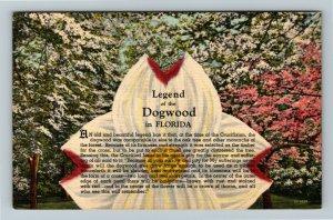 FL-Florida,Legend of Dogwood,Crucifixion,Nailprint,Crown of Thorn,Linen Postcard