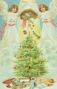 C.1900-10 Germany Embossed Angels Christmas Tree Toys Vintage Postcard F56