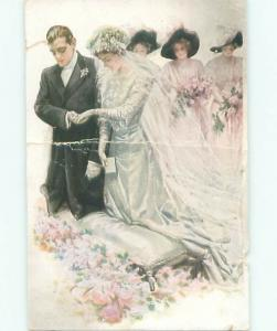 damage trimmed c1910 BRIDESMAIDS BEHIND ROMANTIC COUPLE GETTING MARRIED AB7944