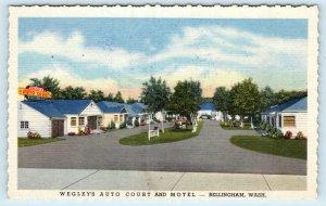 BELLINGHAM, WA Washington ~ WEGLEY'S AUTO COURT  c1950s Roadside  Postcard