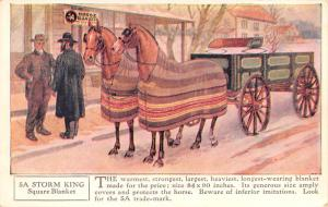 Horse Blanket Advertising Old Vintage Antique Post Card Storm King Square Bla...