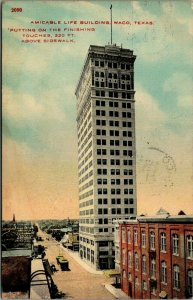 Waco TX~Tiny-Looking Man Stands Atop Amicable Life Bldg~320 Ft Above Ground 1912