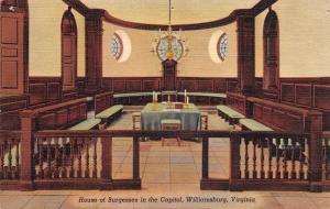 WILLIAMSBURG, VA  Virginia     HOUSE OF BURGESSES In Capitol    c1940's Postcard