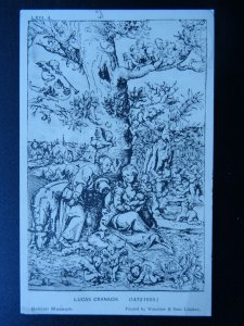 LUCAS CRANACH Rest on the Flight into Egypt c1930s Postcard by Waterlow & Sons