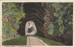 ASHEVILLE, NC, 1910-20s; Double Tunnel In The Land of the Sky, Train on Tracks