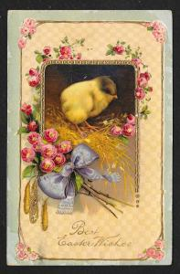 'Best Easter Wishes' Flowers & Chick Used c1911