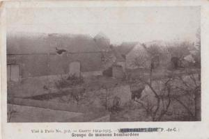 French House Houses Being Bombed Air Raids During WW1 Military Postcard