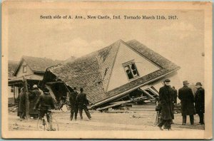 1917 New Castle, Indiana TORNADO Disaster Postcard South Side of A Ave. House