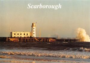 Postcard Rough Sea and Lighthouse, Scarborough, North Yorkshire #710