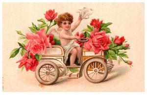 Valentine , Cherub in Antique Car
