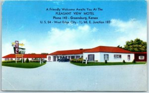 Greensburg, Kansas Postcard PLEASANT VIEW MOTEL / Highway 54 Roadside c1950s