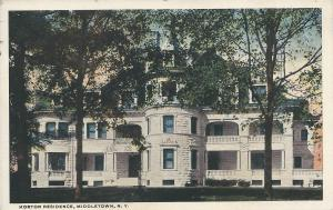 Horton Residence, Middletown, New York, Early Postcard, used in 1921