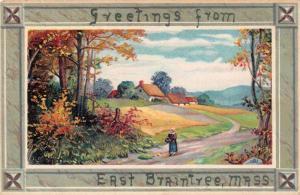 East Braintree Massachusetts Greetings Scenic View Vintage Postcard JD933439