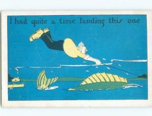 Pre-Linen comic fishing FISHERMAN HAS HARD TIME LANDING HUGE FISH W6993