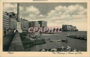 Postcard-Old Napoli Via Partenope e Castel dell Ovo