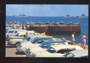LONG BEACH CALIFORNIA BAY 1950's CARS U.S. NAVY BATTLESHIP