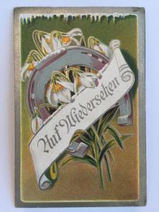 RARE German Germany Good Luck Series No 1 Huf Wiedersehen Horseshoe flowers   A1