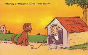 Comic: Having a ´Doggone´ Good Time Here!, Dog on leash watching man in d...