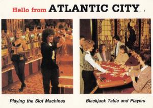 Atlantic City Slot Fruit Machines Casino Sexy Roulette Croupier Girl Postcard