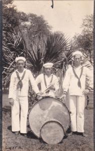 RP; Cornet player & Drummers, US Navy Band, Charleston, South Carolina, 1918
