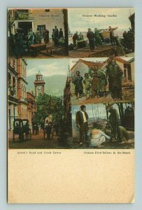 Hong Kong Queen's Road Chinese Fruit Seller Monk Tinted Colored Vintage Postcard