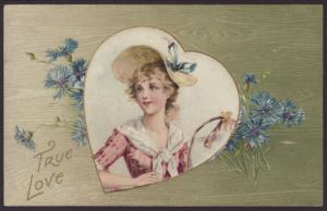 True Love,Woman,Flowers Postcard