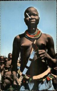 Semi-Nude - African Village Woman Bare Breasts Tinted Real Photo Postcard