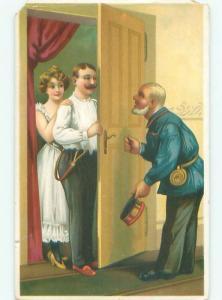 Pre-Linen Risque ROMANTIC COUPLE BEHIND THE DOOR AT HOTEL AC5136