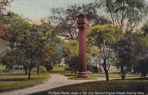 Maine Portland Model Of Old City Hall And Original Column Deering Oak